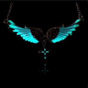 Jewelry - Gothic Glow in the Dark Wing Angel Cross Necklace